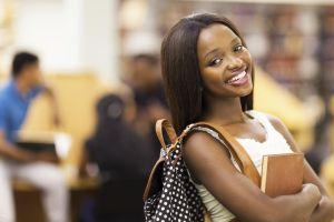 beautiful female african american university student