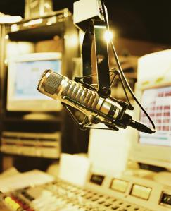 Microphone in radio broadcasting booth