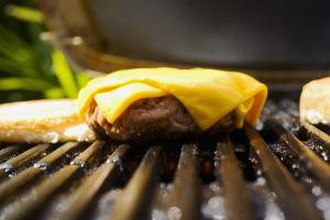 Barbecue scene, cheeseburger on the grill.