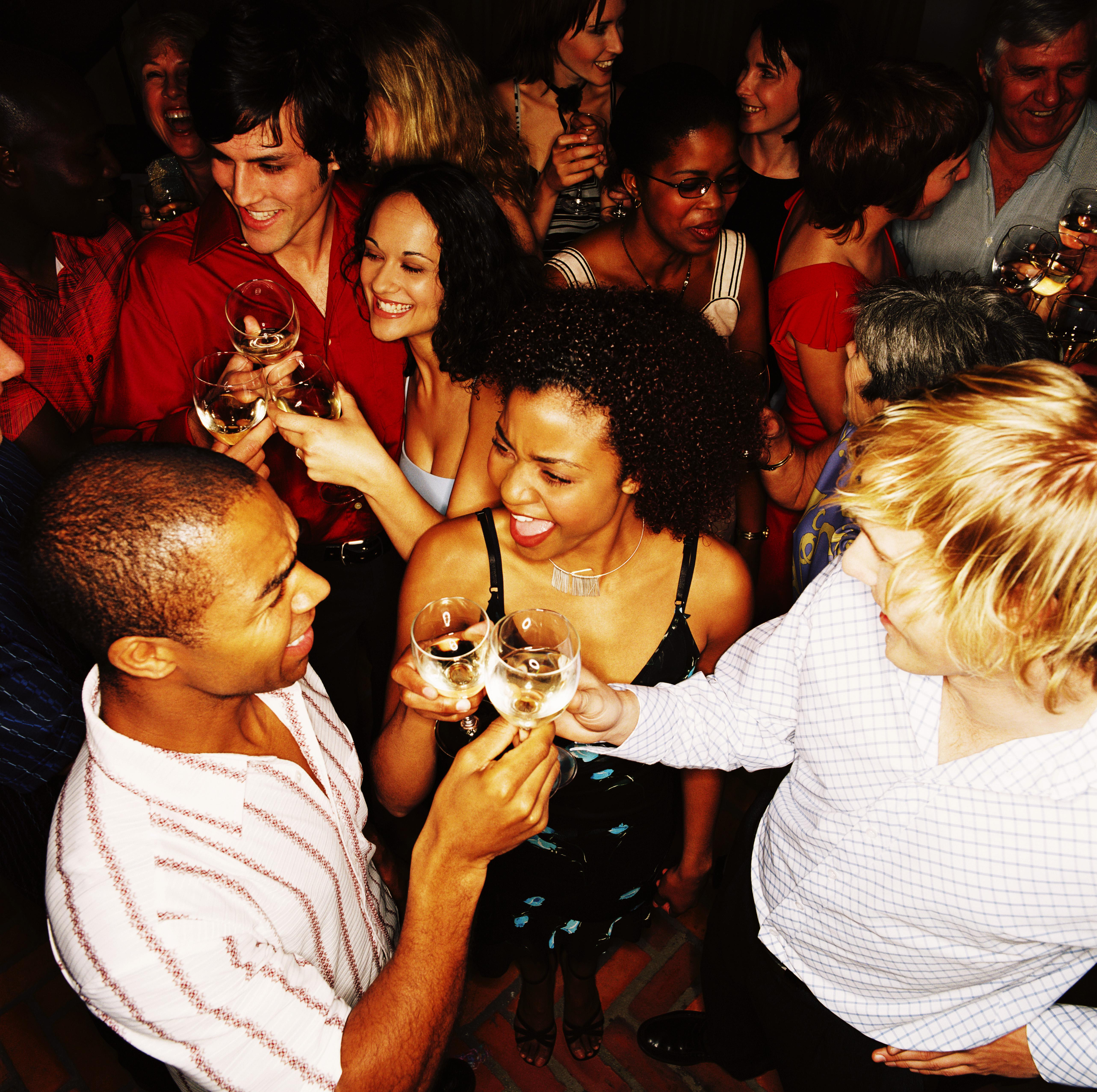 high angle view of people enjoying a party
