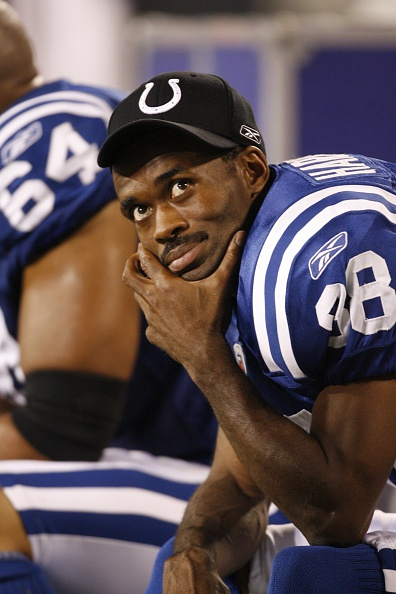CHARLOTTE, NC - AUGUST 09: Marvin Harrison #88 of the Indianapolis Colts resting on the bench during a game against the Carolina Panthers on August 9, 2008 at the Bank of America stadium in Charlotte, North Carolina. (Photo by Sporting News via Getty Images)