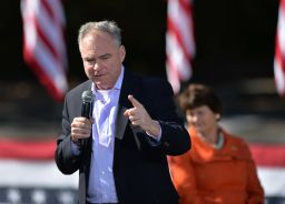 Tim Kaine campaigns for Hillary Clinton in Charlotte