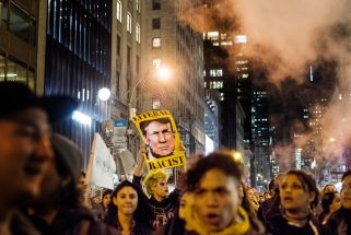 President Elect Donald Trump protests