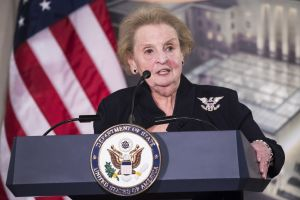 Reception for the U.S. Diplomacy Center Pavilion with Clinton, Kerry, Powell, and Albright
