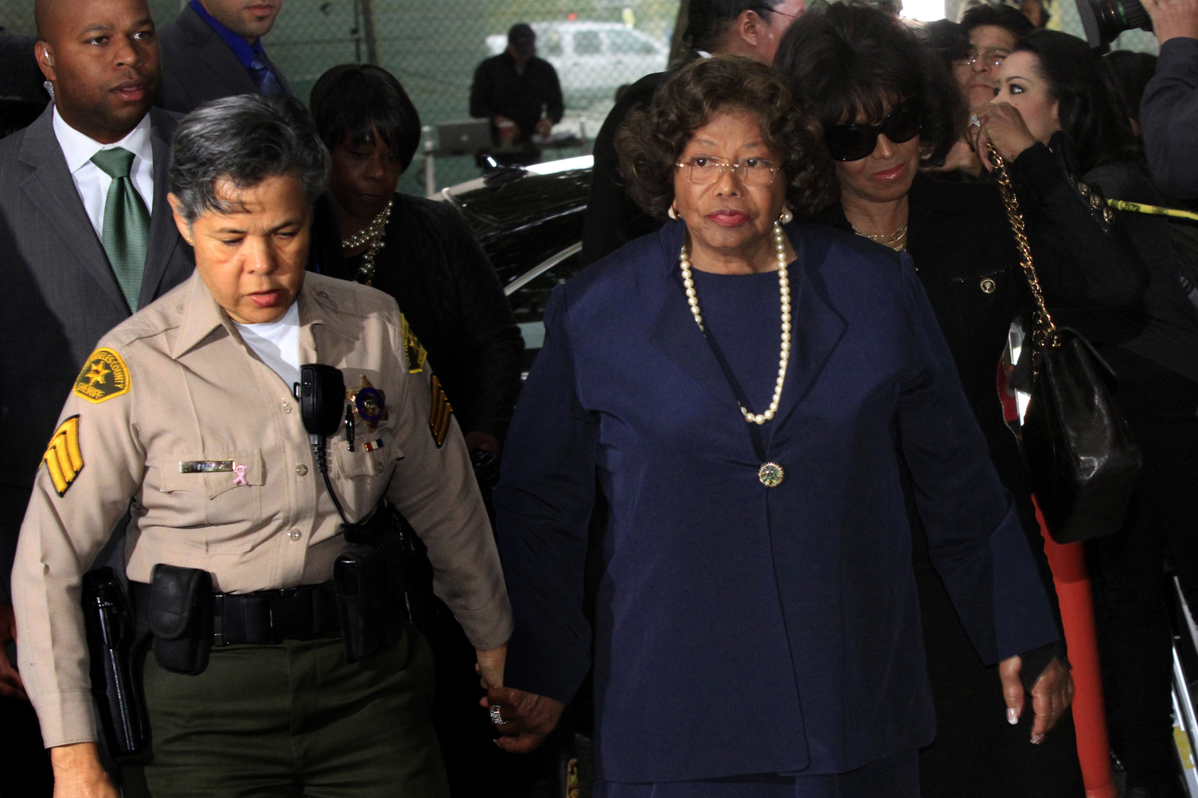 Katherine Jackson arriving at court during the earlier Conrad Murray trial is seeking damages agains