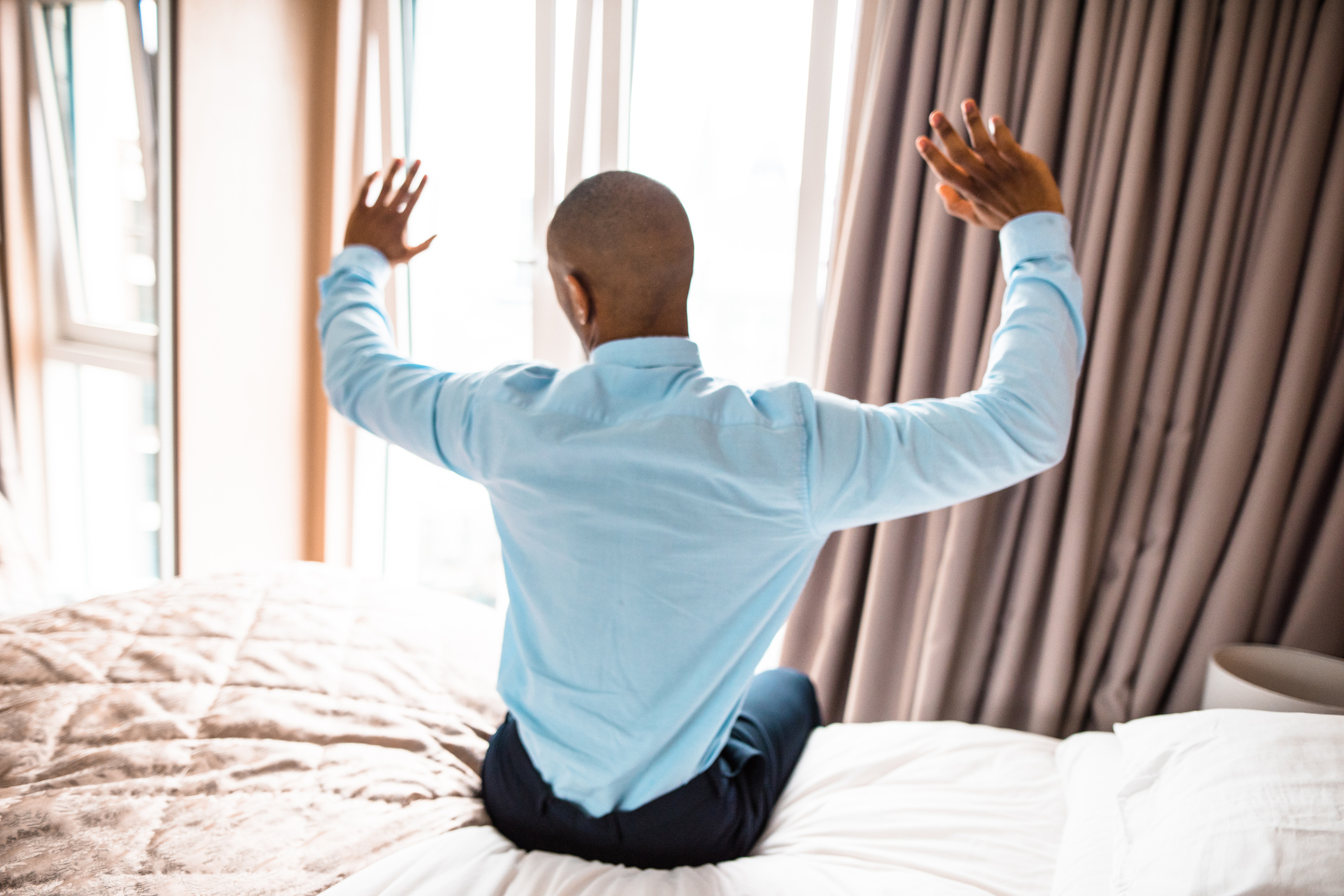 businessman waking up in the bedroom