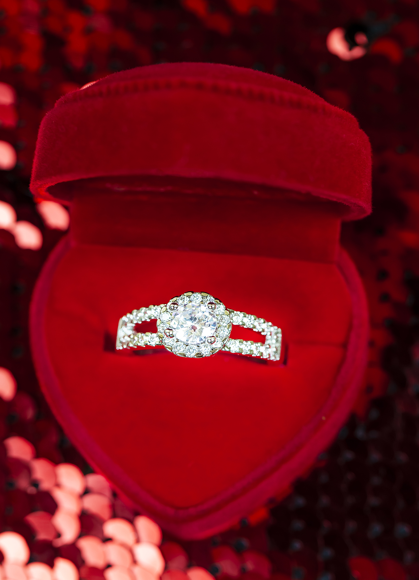 Close-Up Of Engagement Diamond Ring In Red Jewelry Box