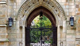 Harkness Gate to Memorial Quadrangle at Yale University