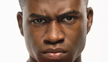 African American man looking angry