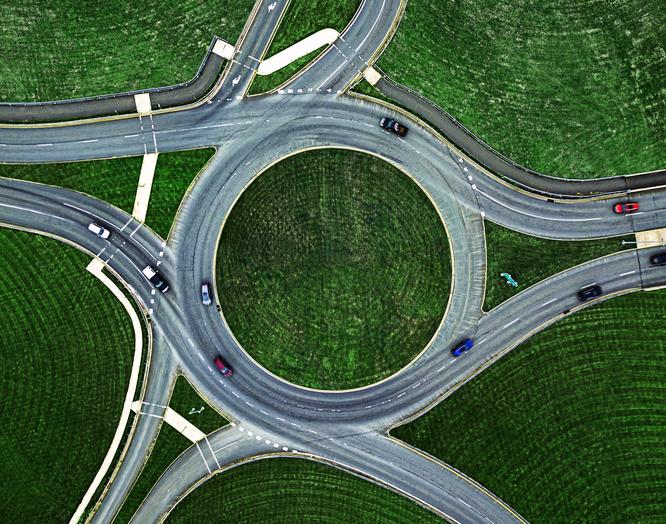 Traffic Roundabout Below