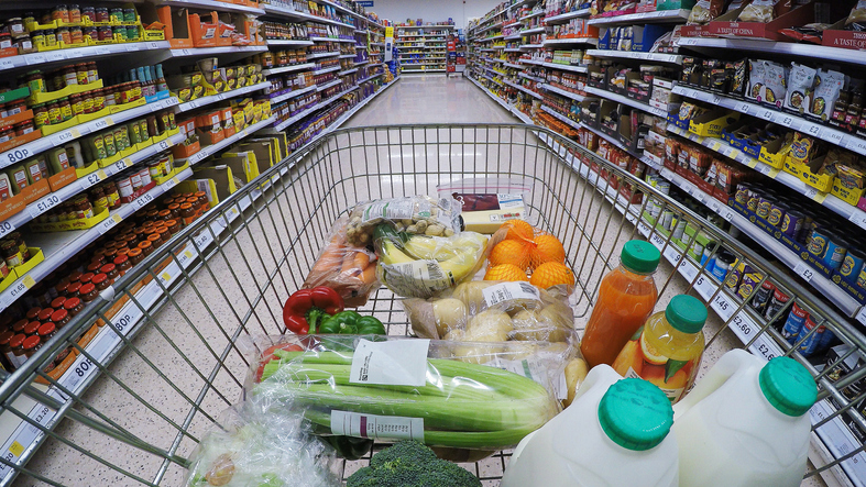 Supermarket Trolley, Point of View shot. Wide angle.