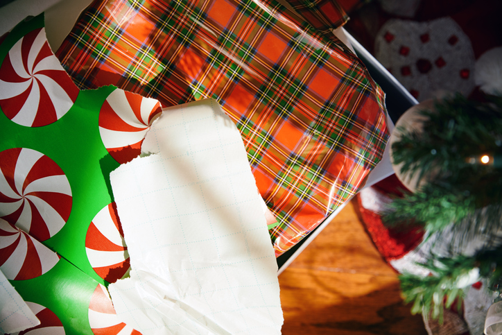 Left over Christmas gift wrapping paper