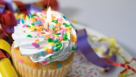 Celebratie Birthday with a Cupcake Ribbons, Confetti , Sprinkles and Candle