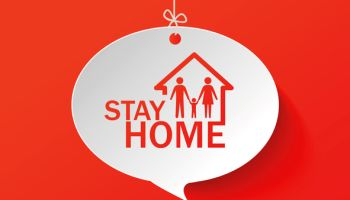 stay home label