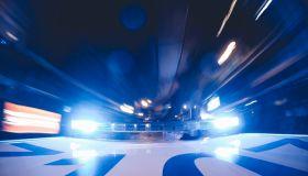 Police patrol lights on car roof, Madrid, Spain