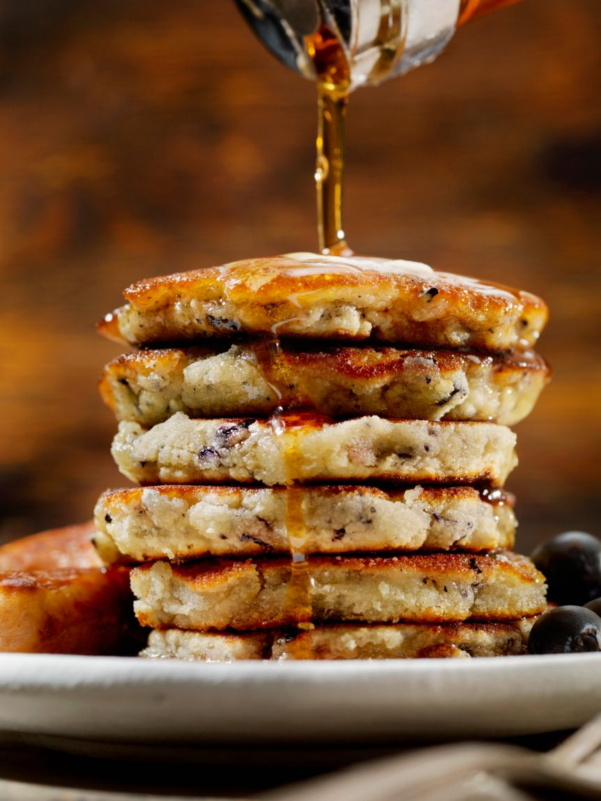 Mini Blueberry Pancakes with Maple Syrup and Sausages