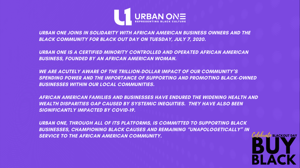 Black Out Day - Urban One Statement